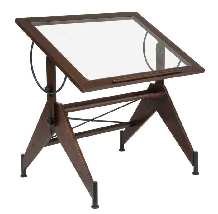 Studio Design Aries Glass Top Drafting Table Sonoma Brown Clear Glass
