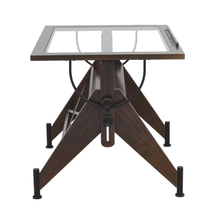 Aries Glass Top Drafting Table