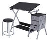 Studio Design Comet Center with Stool Silver Black