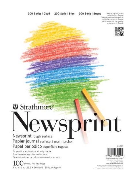 Strathmore 200 series Newsprint Pad 18 X 24 Rough 100 Sheets