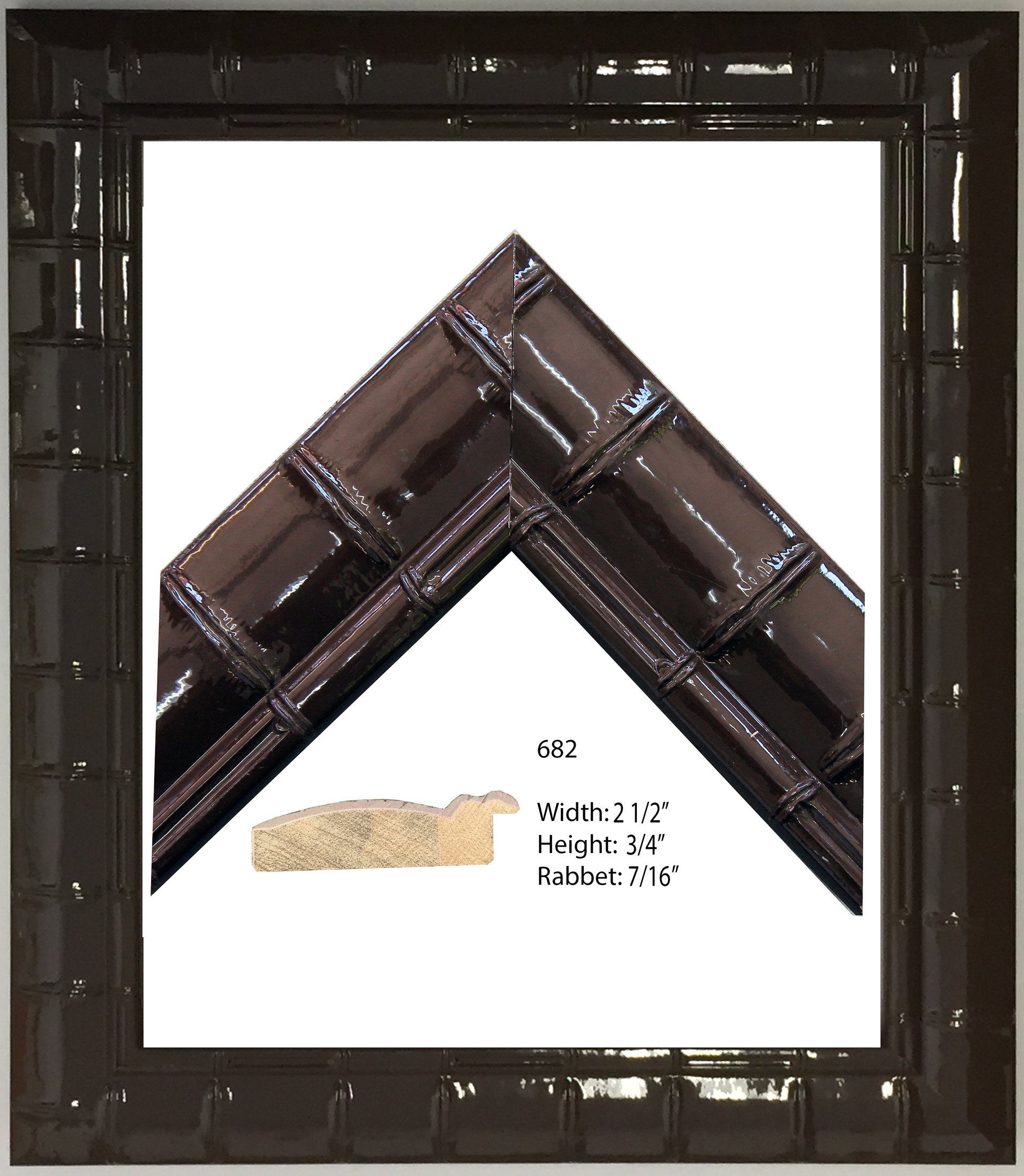 Brown Lacquer Frame 19 x 16 x 1