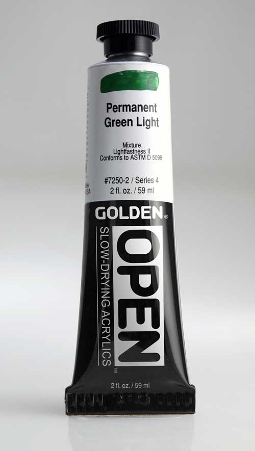 Golden Open Acrylics Permanent Green Light 2 oz