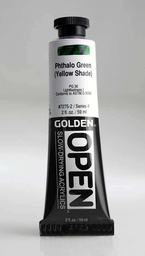 Golden Open Acrylics Phthalo Green Y.S. 2 oz