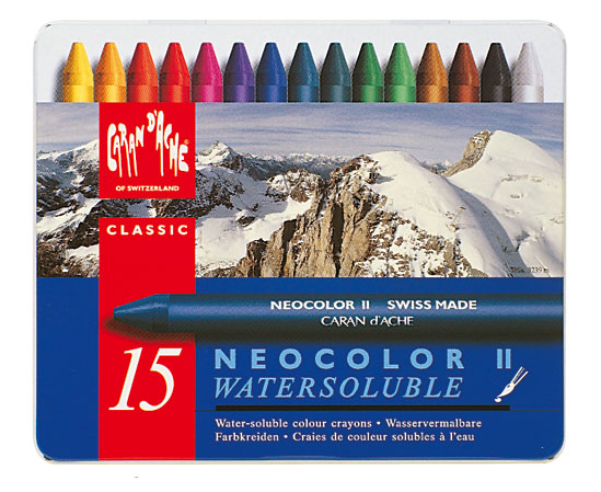 Neocolor II Water-Soluble Quality Artists' Crayons 15 Set