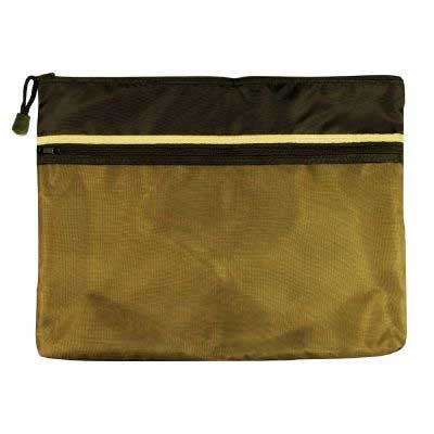Alvin 10in x 13in  Dual Zippered Pocket Fabric Mesh Bag