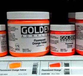 Golden Fluorescent Acrylic Paint
