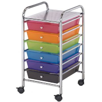 Blue Hills Studio 6 Small Drawer Multi-Colored Storage Cart