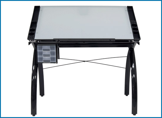 Futura Studio Design Rta Glass Top Drawing Table Black with white glass