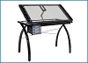 Futura Studio Design Rta Glass Top Drawing Table Black with clear glass