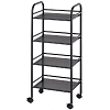 Blue Hills Studio 4 Shelf Black Mobile Cart
