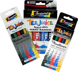 Tee Juice Fabric Marker Broad Tip Primary 4 Color Set