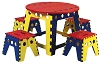 Weber Kid's Legacy Colorful Folding Table Set with 4 stools