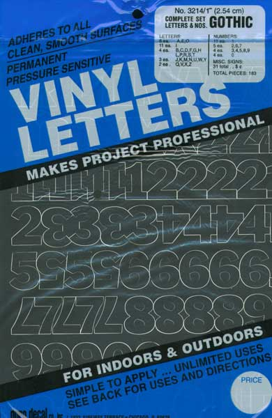 duro pressure sensitive vinyl letters and numbers