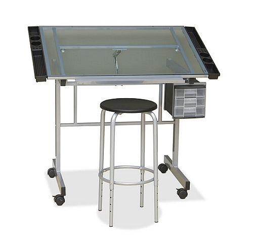 Studio Design Vision Craft Glass Top Drawing Table With Stool