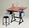 Ashley Creative Center With Stool Black With Cherrywood Top