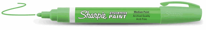 Sharpie Water-Based Paint Marker Fluorescent Green Fine