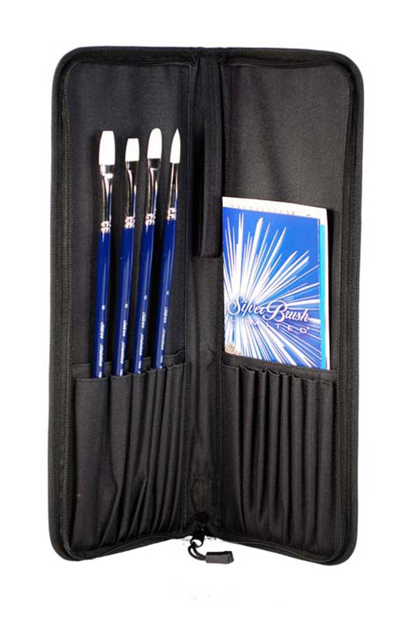 Silver Brush Bristlon 5Pc Set With Case Bristlon Oil & Acrylic 5Pc Long Handle Set