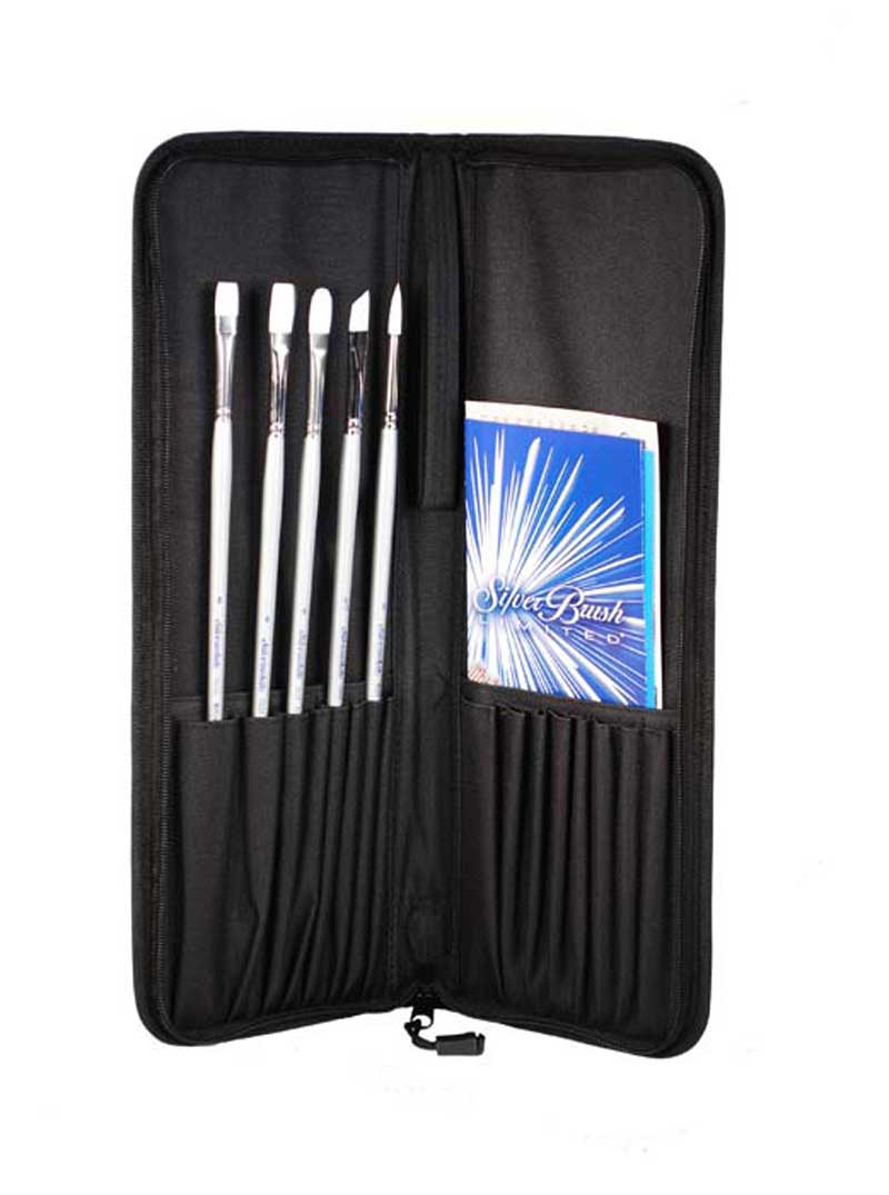 Silver Brush Silverwhite Long Handle 6Pc Set With Case Acrylic Set