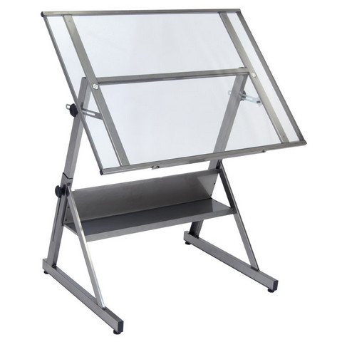Solano Adjustable Drafting Table Steel / Clear Glass