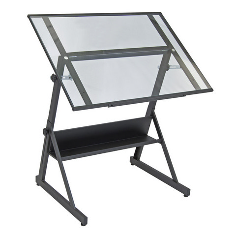 Solano Adjustable Drafting Table Charcoal/Clear Glass