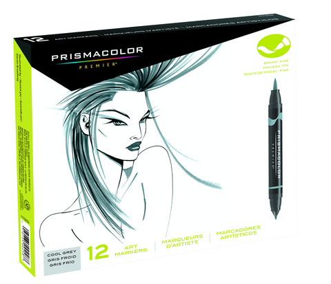 Prismacolor Brush  Tip Marker 12Ct Cool Grey  Set