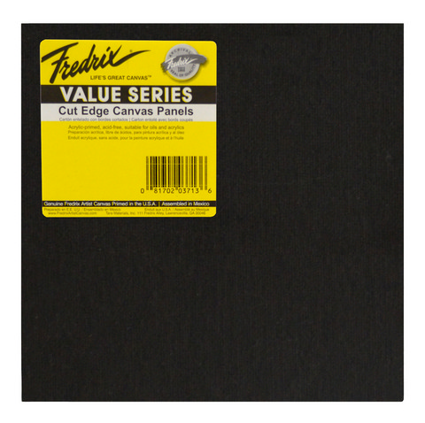 Fredrix Value Series Cut Edge Black Canvas Panel Square 12In