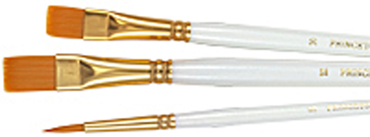 Princeton Brush Set Golden Taklon Large Round Bright Filbert