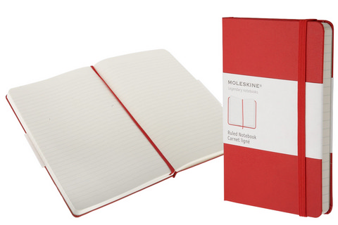 Moleskine Ruled Hard Cover Notebook 5 X 8.25 Red