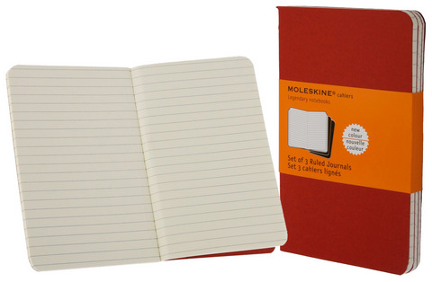 Moleskine Ruled Cahier Cranberry Red Pocket 3.5 X 5.5 3 Pack