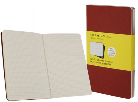 Moleskine Squared Cahier Cranberry Red Pocket 3.5 X 5.5 3 Pack