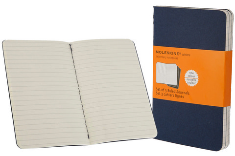 Moleskine Ruled Cahier Indigo Blue Pocket 3.5 X 5.5 3 Pack