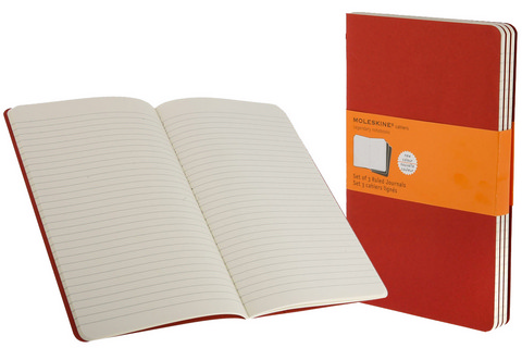 Moleskine Ruled Cahier Cranberry Red Large 5 X 8.25 3 Pack