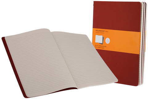 Moleskine Ruled Cahier Cranberry Red X-Large 7.5 X 10 3 Pack
