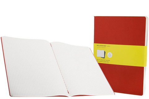 Moleskine Squared Cahiercranberry Red X-Large 7.5 X 10 3 Pack