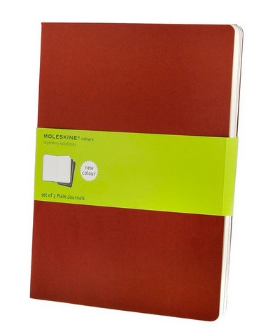 Moleskine Plain Cahier Cranberry Red X-Large 7.5 X 10 3 Pack