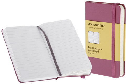 Moleskine Ruled Hard Cover Notebook 2.5 X 4 Magenta