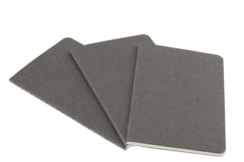 Moleskine Squared Cahier Pebble Grey Large 5 X 8.25 3 Pack