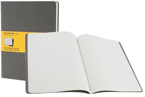 Moleskine Squared Cahier Pebble Grey X-Large 7.5 X 10.25 3 Pack