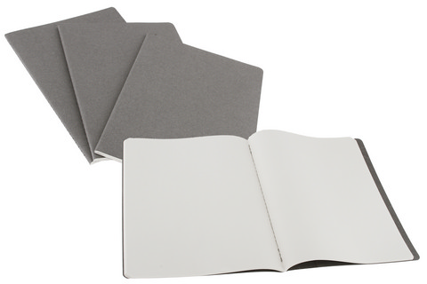 Moleskine Plain Cahier Pebble Grey  X-Large 7.5 X 10 3 Pack
