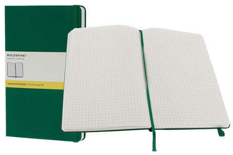 Moleskine Squared Hard Cover Notebook 5 X 8.25 Oxide Green