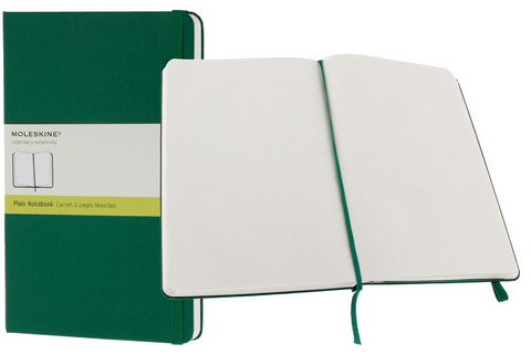 Moleskine Plain Hard Cover Notebook 5 X 8.25 Oxide Green