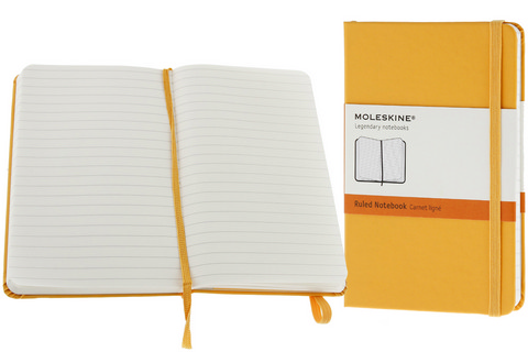 Moleskine Ruled Hard Cover Notebook 3.5 X 5.5 Orange Yellow