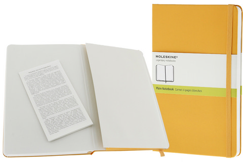 Moleskine Plain Hard Cover Notebook 3.5 X 5.5 Orange Yellow