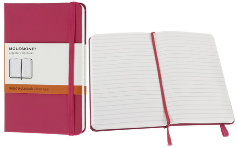 Moleskine Ruled Hard Cover Notebook 3.5 X 5.5 Magenta