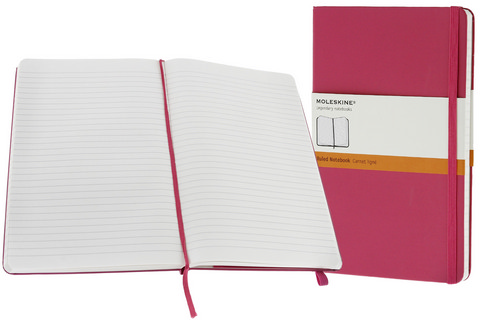 Moleskine Ruled Hard Cover Notebook 5 X 8.25 Magenta