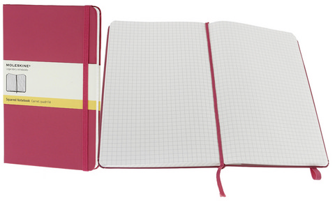 Moleskine Squared Hard Cover Notebook 5 X 8.25 Magenta