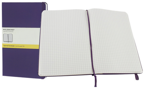 Moleskine Squared Hard Cover Notebook 5 X 8.25 Brilliant Viol