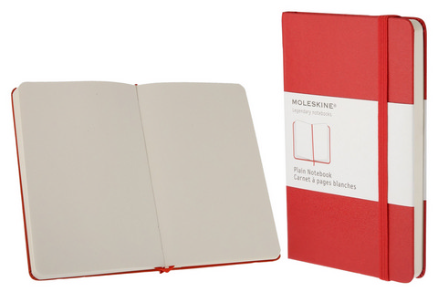 Moleskine Plain Hard Cover Notebook 2.5 X 4 Red