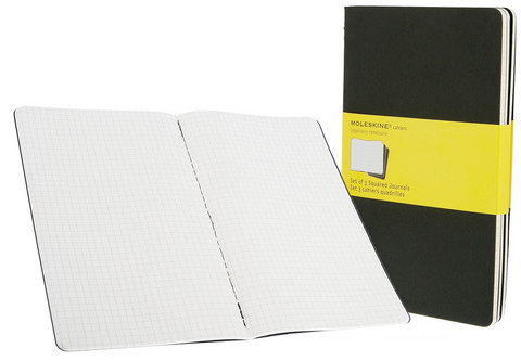 Moleskine Squared Cahier Pebble Black Large 5 X 8.25 3 Pack
