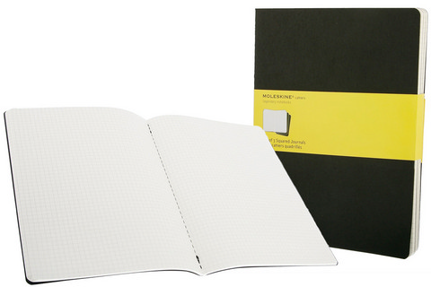 Moleskine Squared Cahier Black X-Large 7.5 X 10 3 Pack
